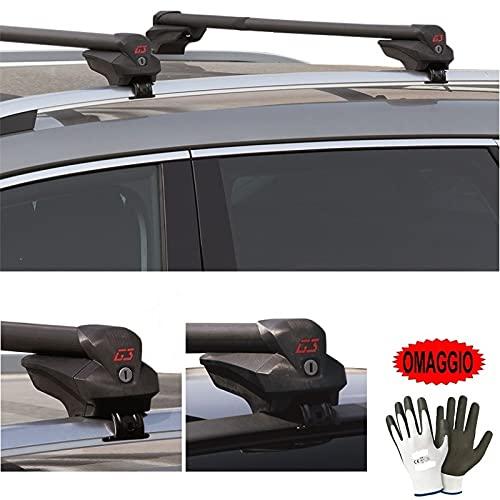 Compatible con BMW X3 (Rails) 5p (04-06) Barras ajustables para techo de coche de 77 a 115 cm Barra portaequipajes tanto alta como baja fijada al techo.