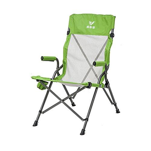 Portable Chair, comfortabele Green Armchair Ademende Stoel van de tuin ijzeren pijp Folding Kruk, 85 * 105cm 421 (Color : Green)