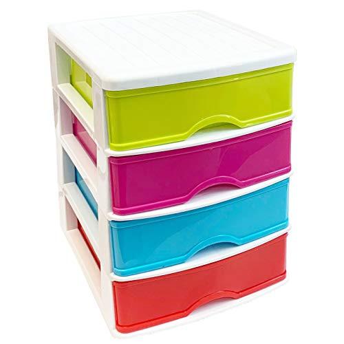 Cajonera de plástico 4 cajones Multicolor 23 x 17.5 x 21.5 cm