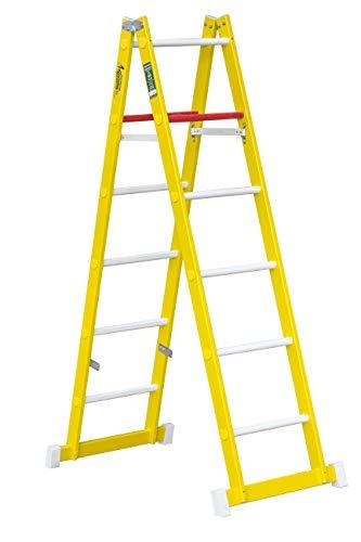 Escalera de tijera de doble subida aislante, fabricada en fibra de vidrio. Según norma UNE-EN 131 (6 peldaños)