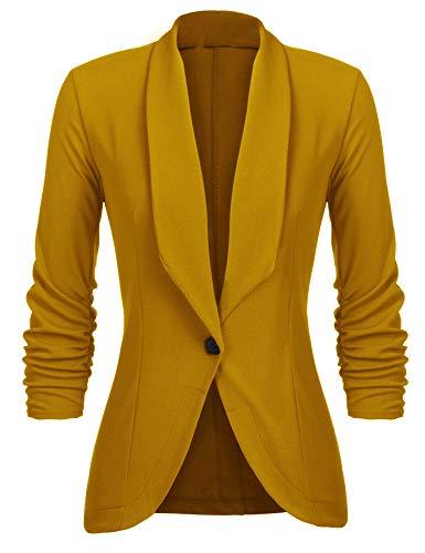 Unibelle Damen Blazer Cardigan Dünn 3/4 Längere Elegant Leicht Bolero Jacke Blazer Slim Fit Anzug Trenchcoat , Aa-yellow, 42(Herstellergröße:XL)