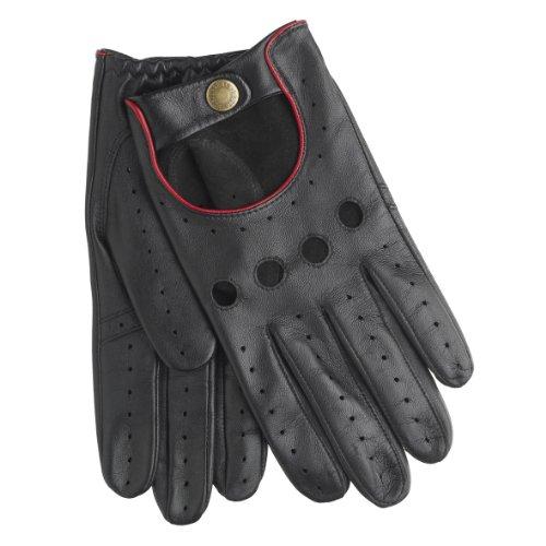 Dents Noir et rouge en cuir Delta Conduite gants 8 ½ 9