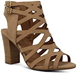 Marco Republic Casablanca Women's Open Toe Strappy Laser Cutout Caged Chunky High Heels Dress Sandals - (Sand NB)- 9