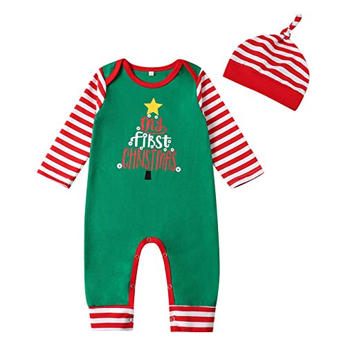 My First Christmas Baby Girl Boy Newborn Clothes Long Sleeve Baby Outfits Set Romper Jumpsuit (Green-B, 6-9 Months)