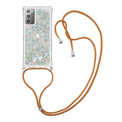 Schutzhülle für Samsung Galaxy Note 20 4G-5G (Glitzernd, TPU-Gel, Silikon, stoßfest) silberfarben