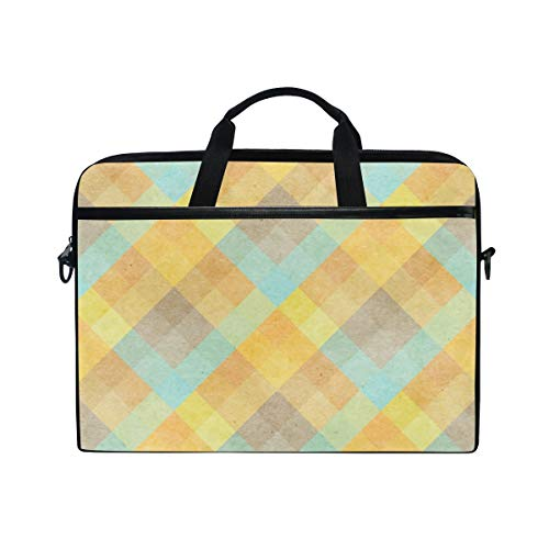 FOURFOOL 15-15.6 inch Laptop Bag,Checked Fabric Pattern On Paper,New Canvas Print Pattern Briefcase Laptop Shoulder Messenger Handbag Case Sleeve