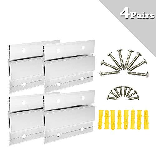 BIGTEDDY – Kit de herrajes Kit de montaje para colgar clips de aluminio Soporte para colgar para estante de fotos con espejo y gabinete con herrajes.