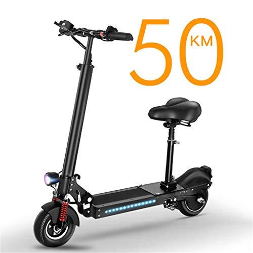 TYX-Elektro Scooter Elektrische Roller Adult Faltmittel,180kg Max Load mit Seat 8 Zoll 40km/H, Lithium Battery 36V 8.8AH, LED-Licht und HD-Display 50km Long-Range,120X100X20 cm,Schwarz