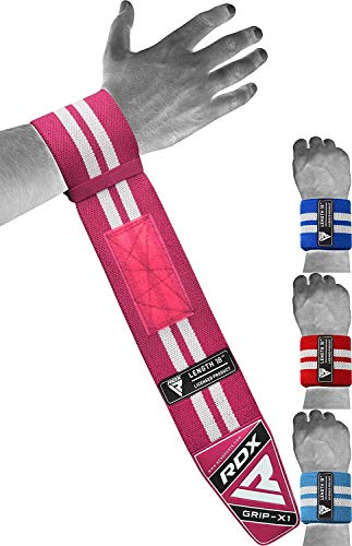 "RDX Weight Lifting Wrist Support Wraps, 36"" 24"" 18"" Professional Grade Elasticated Cotton Straps, Gym Fitness Workout Strength Training Bodybuilding Powerlifting Deadlifting Calisthenics, Men Women"