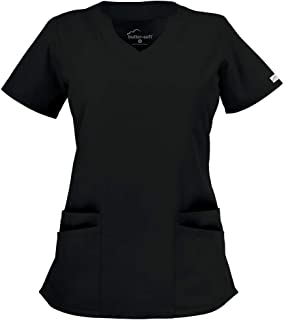 Butter-Soft Women's Scrub Top by Uniform Advantage (Black, Large)