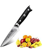 SHAN ZU Schilmesje Fruitmes 67-laags Damascus-stalen mes 4 inch met G10-handvat - PRO-serie