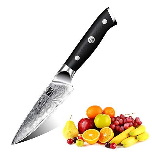 SHAN ZU Coltello di Damasco Coltelli per sbucciare Coltelli per Frutta e Verdura Giapponese Acciaio da 67 Strati- PRO Series