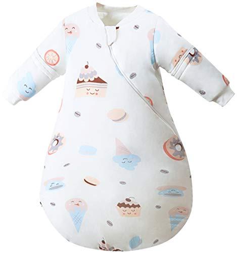 Baby Schlafsack Winter Babyschlafsack mit abnehmbare Ärmel aus 100% Bio Baumwolle Winterschlafsack Kinder Ganzjahres Schlafsack Kinderschlafsack, Weiß, 105/Baby Höhe 100-110cm