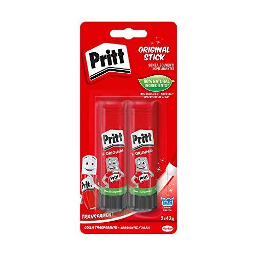 Pritt Colla Stick 2 x 43g, colla per bambini sicura e affidabile, colla Pritt per lavoretti e fai da te, con una tenuta forte per uso scuola e ufficio, 2 stick x 43g