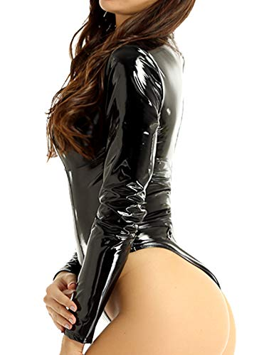 YiZYiF Women's PVC Leather Long Sleeves Zipper Crotch Bodycon Tank Leotard Catsuit