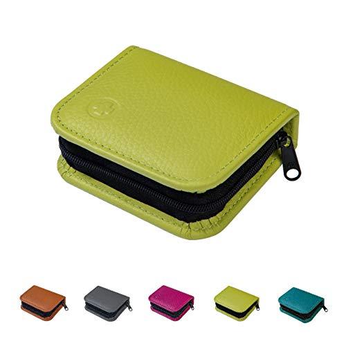 Homöopathische Taschenapotheke für Globuli, leer, Globuli-Tasche für 12 Globuli-Röhrchen (Glas), handgemacht aus echtem Leder (apfel-grün)