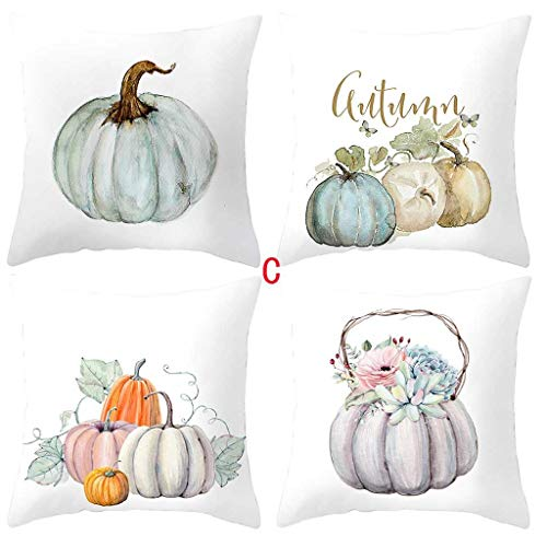 Fall Pumpkin Pillow Covers Merry Christmas Throw Pillow Case Daily Decorations Sofa Throw Pillow Case Cushion Covers (C)
