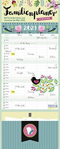 Familienplaner Vintage Zettel 2021: Familienkalender, 4 große Spalten. Familientimer mit Ferienterminen, extra Spalte, Vorschau für 2022, Stifthalter und Zetteltasche. Format: 19 x 47 cm