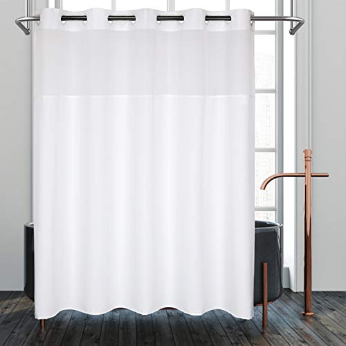 "River Dream Hotel Grade No Hooks Needed Shower Curtain or Liner, Machine Washable (Polyester, 71"" x 74"")"