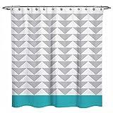 OuopBgbkkjn Duschvorhang, geometrisches Muster, Sunlit Chevron Triangel, 183 x 183 cm, Weiß/Blau/Grau