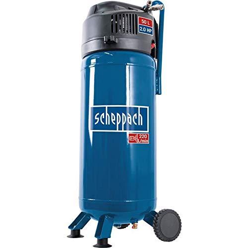 Scheppach Kompressor HC51V (1500W, 50 L, 10 bar, Ansaugleistung 220 l/min, Druckminderer, ölfrei, stehende platzsparende Bauweise) - inkl. 13-teiligem Druckluft-Werkzeug-Set + 15 m Gewebeschlauch - 2