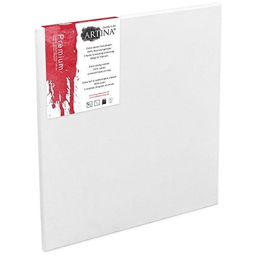 Artina 80x100 cm Leinwand aus 100{682fe2d227da29d0cabf9f6b0240caf0266261c8891af5051bcc9a98ae1f25a6} Baumwolle auf stabilem Keilrahmen in Premium Qualität - weiß vorgrundiert - 380 g/m²