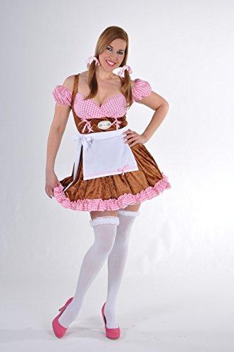Panelize Dirndl Edelweiß Kleid mit Schürze Trachtenkleid Oktoberfest bayrischer Abend (XL)