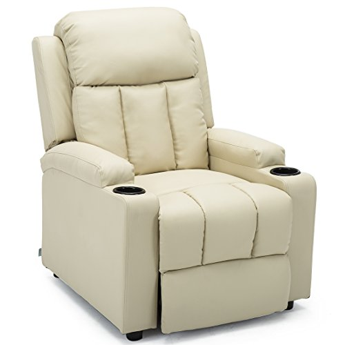 More4Homes STUDIO RECLINER w DRINK HOLDERS ARMCHAIR SOFA BONDED LEATHER CHAIR RECLINING CINEMA (Cream)