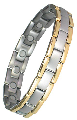 MPS® Herren Magnetische Armband, Polaris Titan Magnetarmband für Männer, Mit Tool zum Entfernen von Links, Silber mit Goldrändern