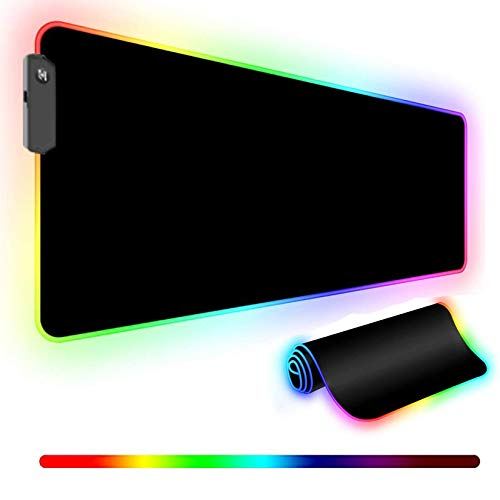 RGB Gaming Mouse Pad, Led Soft Large XXL Extended Mouse Pad with 14 Lighting Modes, Anti-Slip Rubber Base, Computer Keyboard Mouse Mat for Home Office - 31.5 x 11.8 x 0.16 Inch,Black