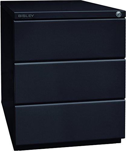 BISLEY Rollcontainer OBA, mit 25 mm Top, 3 Universalschubladen, Metall, 633 Schwarz, 56.5 x 42 x 51.9 cm