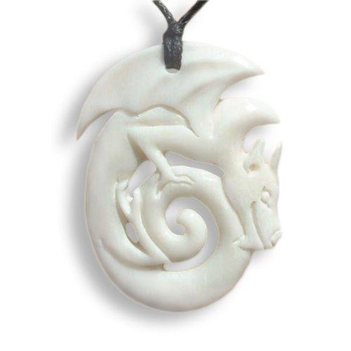 ISLAND PIERCINGS Handgefertigter Drache Drachen Amulett Anhänger inkl. Band PB111