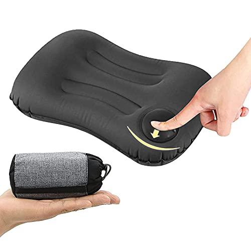 Almohada inflable ultraligera, almohada compresible de viaje/camping con bolsa de almacenamiento para acampar al aire libre, playa, vacaciones, viajes, oficina, viajes (gris)