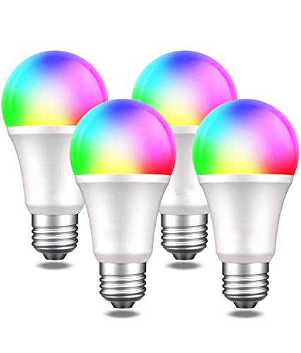 HONGLONG Smart Light Bulbs Funciona con Alexa Echo Google Home and Siri, WiFi Dimmable Color Cambiando LED Luces LED Bombillas, A19 E26 8W White White 2700K, 75W Equivalente de 75W, 4 Paquete