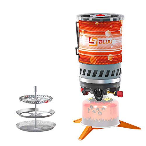 BLUU SOLO Backpacking Camping Propane Stove, Outdoor Portable Camp Gas Stoves Burner with Pot and French Coffee Press, Hiking Hunting Fishing Emergency & Survival (0.9-Liter)