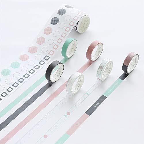 7 rollos de cintas adhesivas decorativas para calendario, para agenda diaria, planificador diario verde