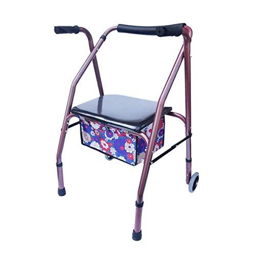CHenXy Ältere Walker Behinderte Trolley Gehen Assist Mit Einkaufstasche Carbon Steel Faltbarer Leicht medizinische Walker (Color : A)