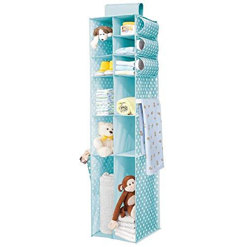 mDesign Organizador Colgante – Organizador para Ropa y Zapatos con 16 Compartimentos, Ideal para el Cuarto de los niños – Armario de Tela con Alegre diseño de Puntos – Azul y Blanco