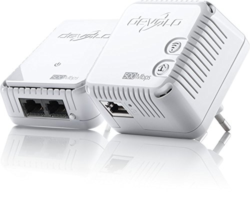 devolo dLAN 500 WiFi Starter Kit Powerline (1x dLAN 500 WiFi Powerline Adapter, 1x dLAN 500 duo Powerline Adapter, 1x Netzwerk Kabel (2m), PLC Netzwerkadapter, WLAN Steckdose, WiFi Booster) weiß