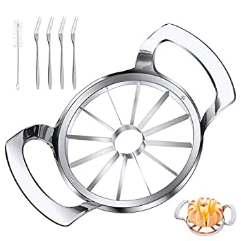LIIGEMI Apple Slicer Upgraded Version 12-Blade Extra Large Apple Corer Stainless Steel Ultra-Sharp Apple Cutter Pitter Divider Up to 4 Inches Apples / Four Fruit Forks set