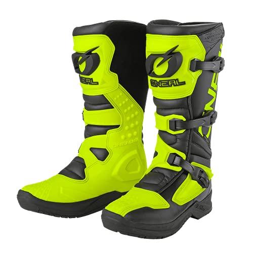 O NEAL | Botas de Motocross | MX Enduro | Protección interior de tobillos, pies y zona de cambio, forro perforado, microfibra de Perdurable | Botas RSX | Adultos | Negro Amarillo Neón | Talla 39