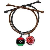 リビア国旗のアフリカの国 ブレスレットロープハンドチェーンレザーローズリストバンド
