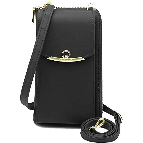 Womens Small Crossbody Cell Phone Wallet Shoulder Purse Leather Clutch Handbag black Size: L