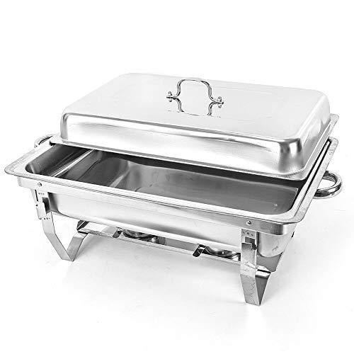 Berkalash Edelstahl Speisenwärmer Behälter Chafing Dish Warmhaltegerät Warmhaltebehälter Einzelzelle