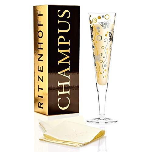 RITZENHOFF Champus Champagnerglas von Ingrid Robers, aus Kristallglas, 200 ml, mit edlen Gold- und Platinanteilen, inkl. Stoffserviette