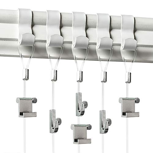 Picture Rail Hanging System - 5 Pack - White Picture Rail Hooks and Invisible Wire - Molding Hooks for Picture Hanging - Gallery Hanging System Includes Picture Rail Hook, Nylon Cord, Adjustable Hooks