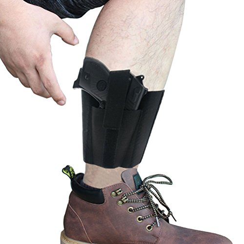 CREATRILL Ankle Holster with Padding for Concealed Carry with Elastic Secure Strap Pistol Concealment for Women Men Fits for Small to Medium Frame Pistols and Revolvor, Black