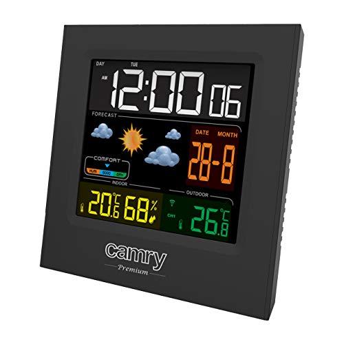 CAMRY CR 1166 Digitale Wetterstation mit Außensensor, für Innen und Außen, Thermometer - Hygrometer, Farbdisplay, Wettervorhersage, für Raum, Büro, Uhr, 2 Wecker, schwarz