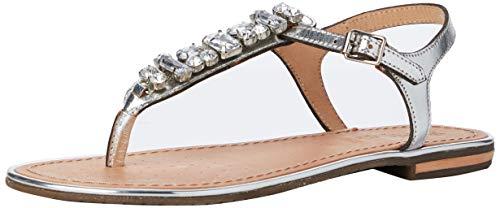 Geox Damen D Sozy Plus E Peeptoe Sandalen, Silber (Silver C1007), 37 EU