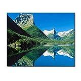 SADHAF Cielo azul, nubes blancas, montañas verdes, pintura de paisajes, mural moderno abstracto Pintura de decoración del hogar, decoración del hogar A3 50x70cm